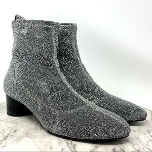 Zara TRF Glitter Sock Boot Silver Sparkle Stretch modern 6.5-7 round heel